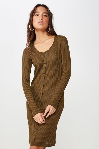 Henry Long Sleeve Button Through Mini Dress, BEECH