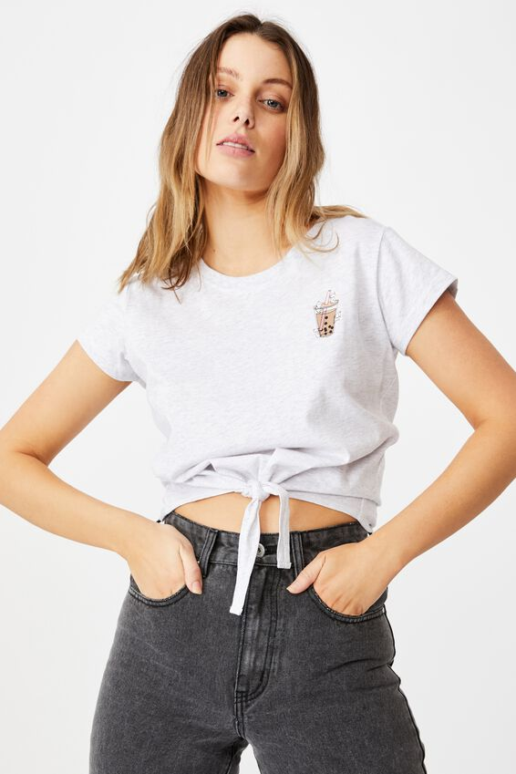 Tie Front Graphic Tee, BUBBLE TEA AND FRIENDS/SILVER MARLE