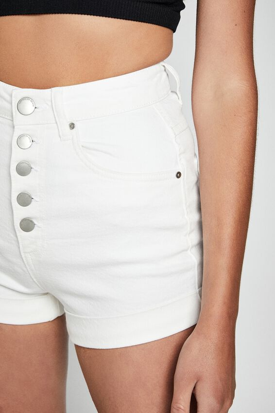 High Rise Classic Stretch Denim Short, VINTAGE WHITE EXPOSED BUTTONS