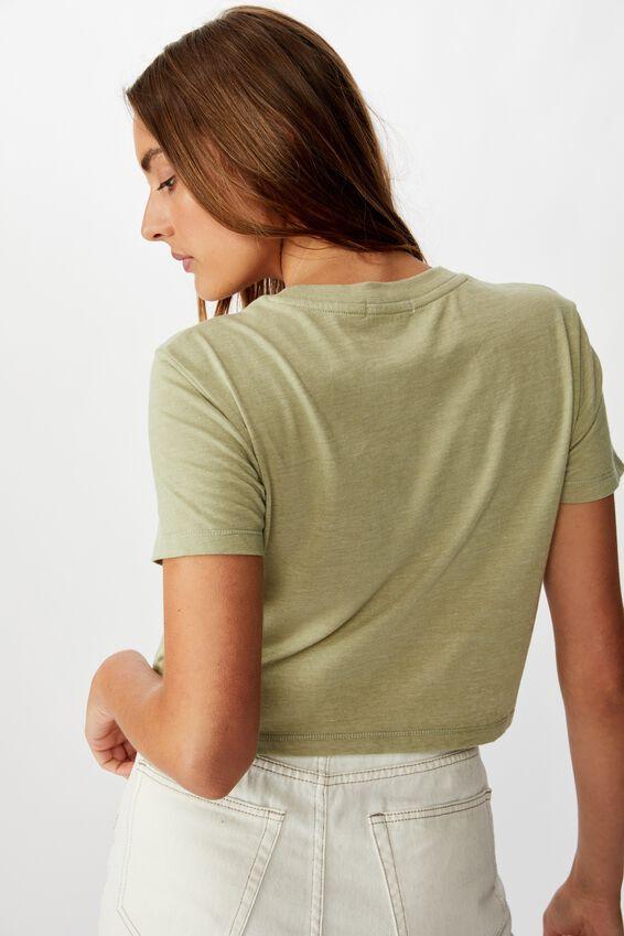Tbar Cara Graphic Crop T Shirt, KEEP YOUR CHIN UP/TEA