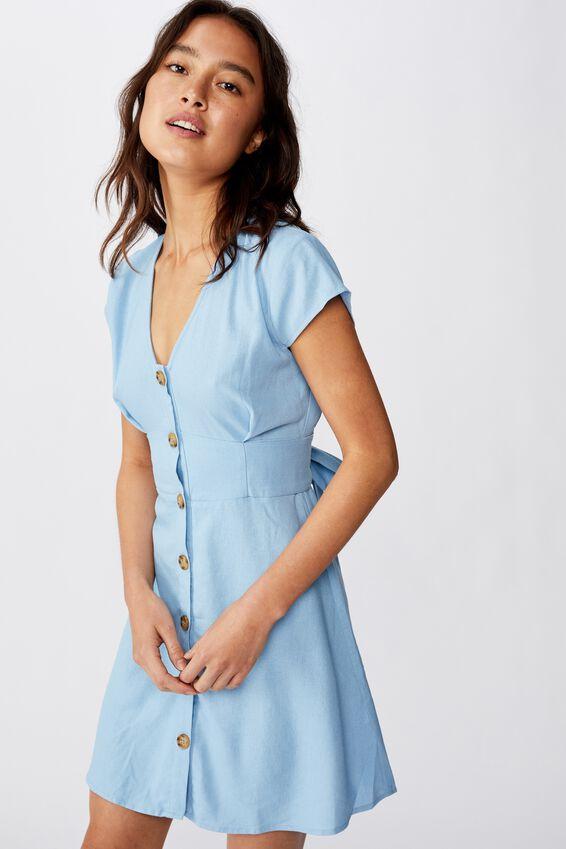 Woven Jenny Deep V Mini Dress, BONDI BLUE