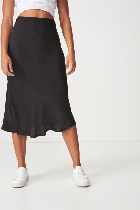 Belle Bias Midi Skirt, BLACK ELASTICATED