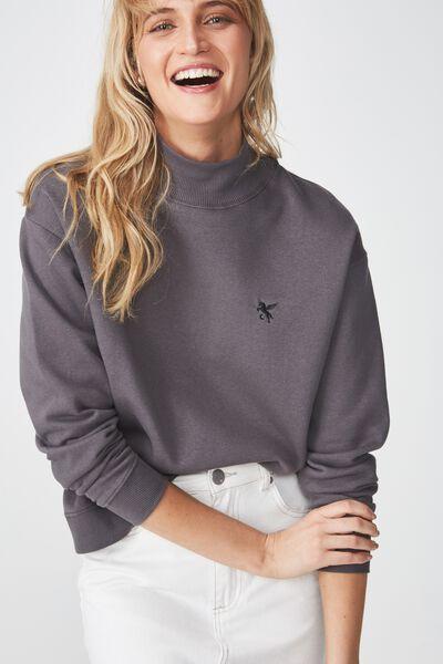 Perri Mock Neck Pullover, PEGASUS/SLATE GREY