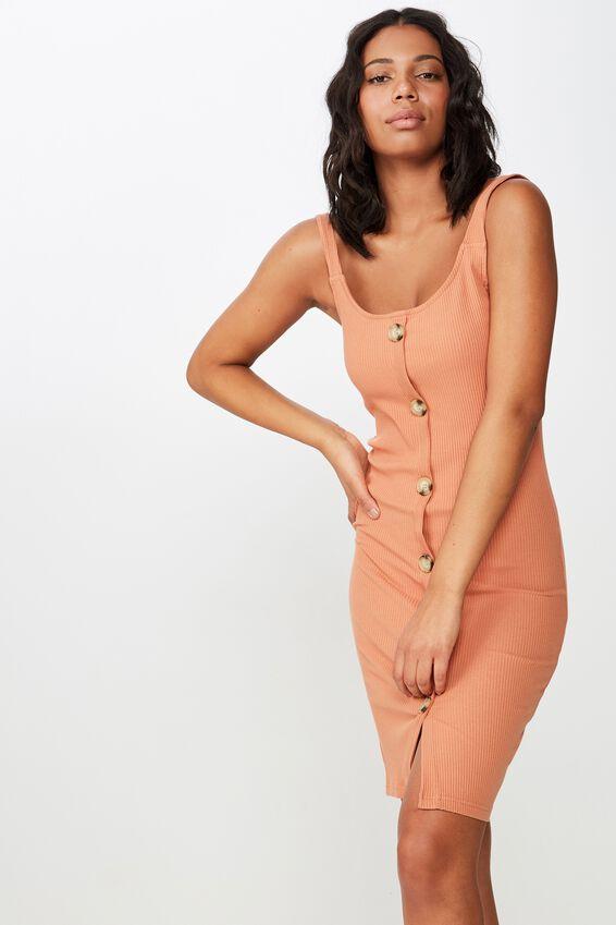 Lola Ribbed Button Through Midi Dress, SUNBURN RIB