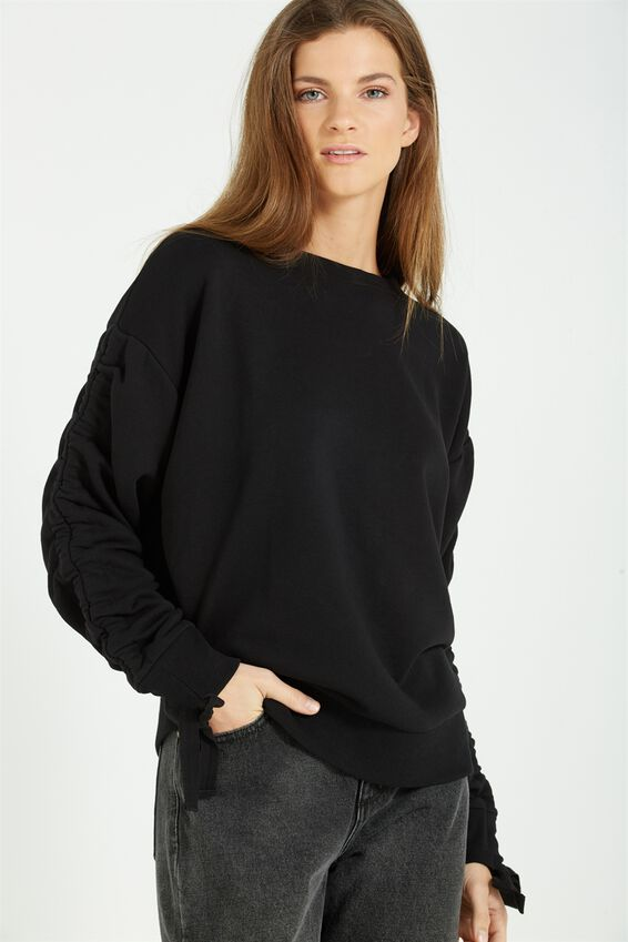 Jade Rouched Sleeve Sweater, BLACK