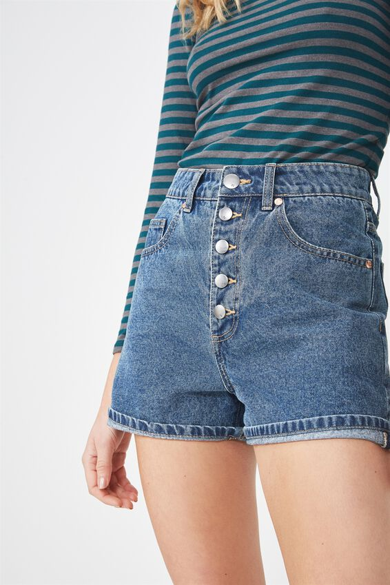 High Rise Flashback Denim Short, 90S BLUE EXPOSED BUTTON