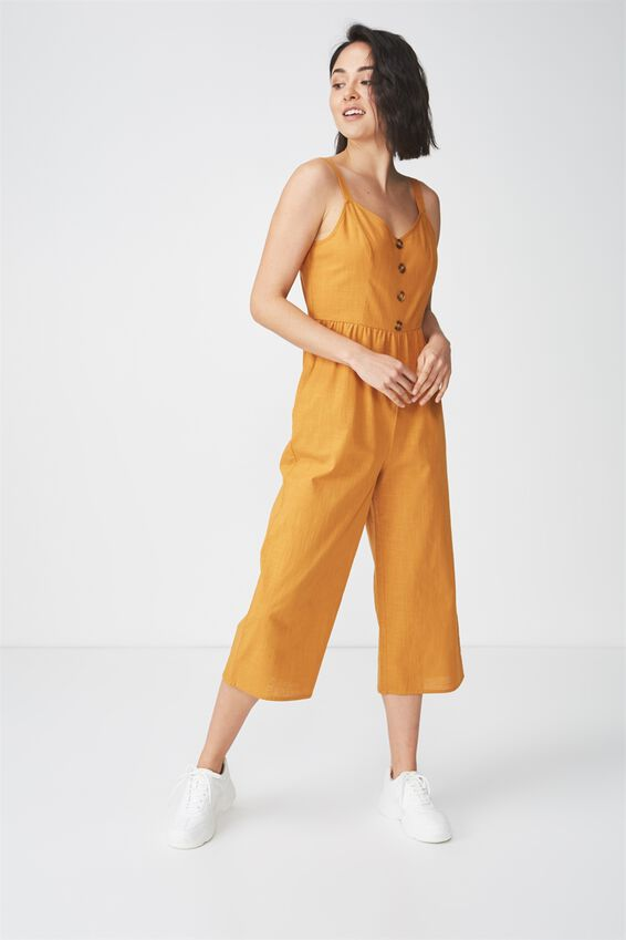 Woven Toni Strappy Jumpsuit, HONEY BROWN