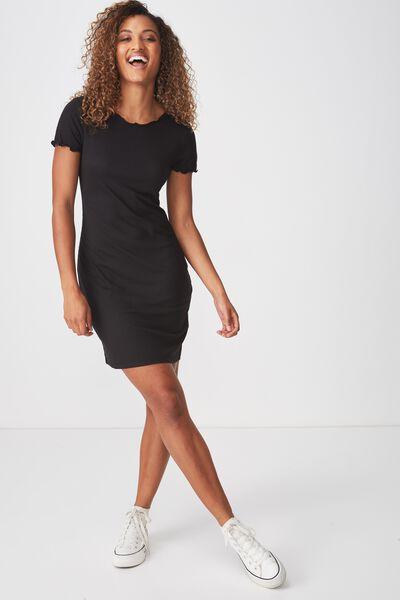 Gracie Lettuce Edge Tshirt Dress, BLACK