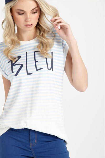 Tbar Fox Roll Sleeve Graphic T Shirt, BLEU/SOFT BLUE STRIPE