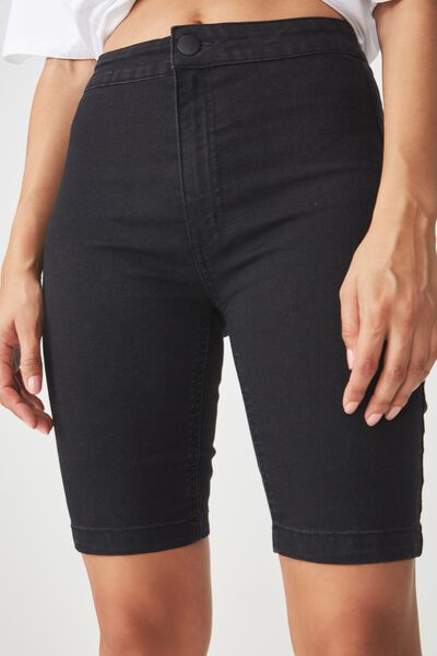 High Rise Denim Bike Short, BLACK