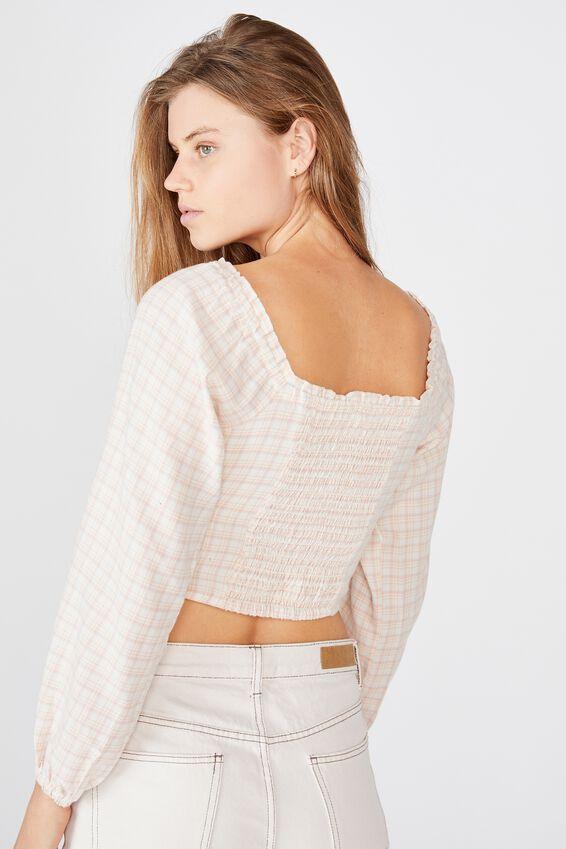 Romantic Long Sleeve Blouse, SARAH CHECK GARDENIA