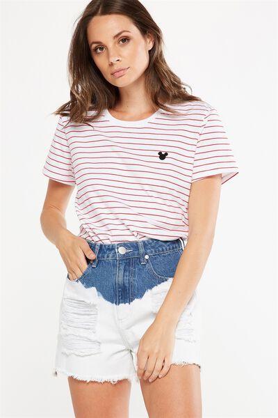 Tbar Fox Graphic T Shirt, LCN MICKEY ELYSE SALSA STRIPE/WHITE