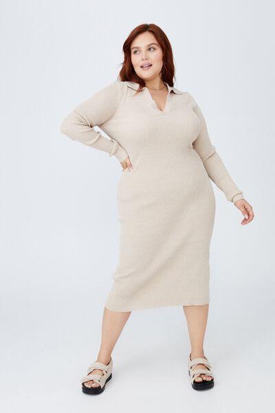 Curve Long Sleeve True Knit Midi Polo Dress, NATURAL MARLE