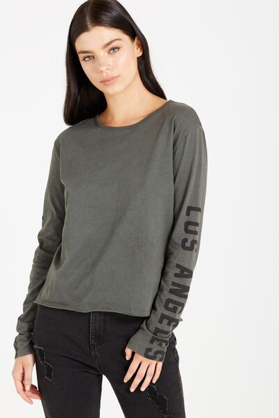 Tbar Long Sleeve Graphic Chop Tee, LOS ANGELES/ENCHANTED GREEN