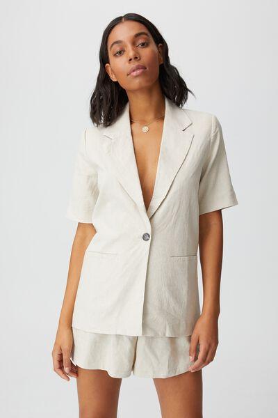 Ultimate Linen Short Sleeve Blazer, FAWN