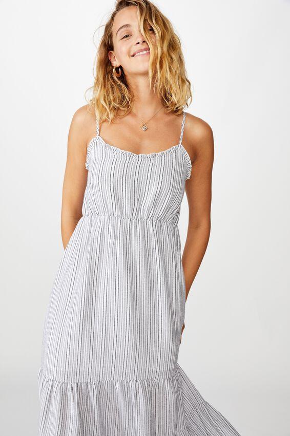 Woven Tully Tiered Midi Dress, ROSE STRIPE WHITE/BLACK