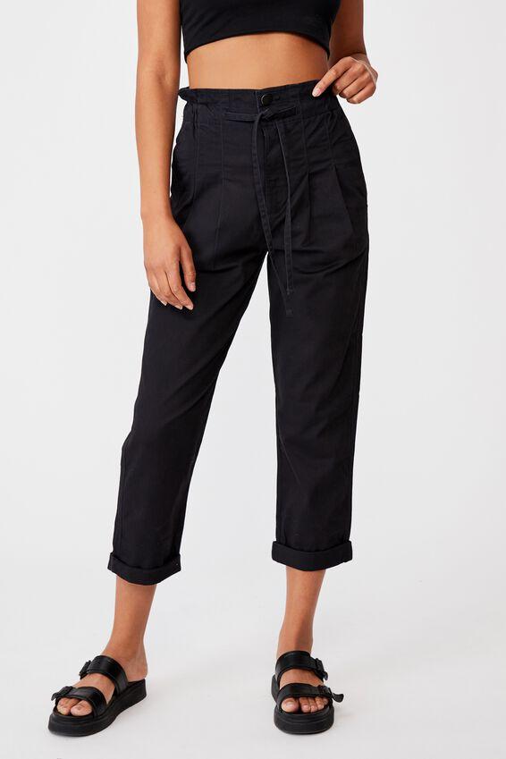Paperbag Trouser, WASHED BLACK R