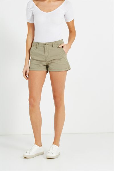 The Slant Pkt Chino Short, SATEEN SOOT UNCUFFED