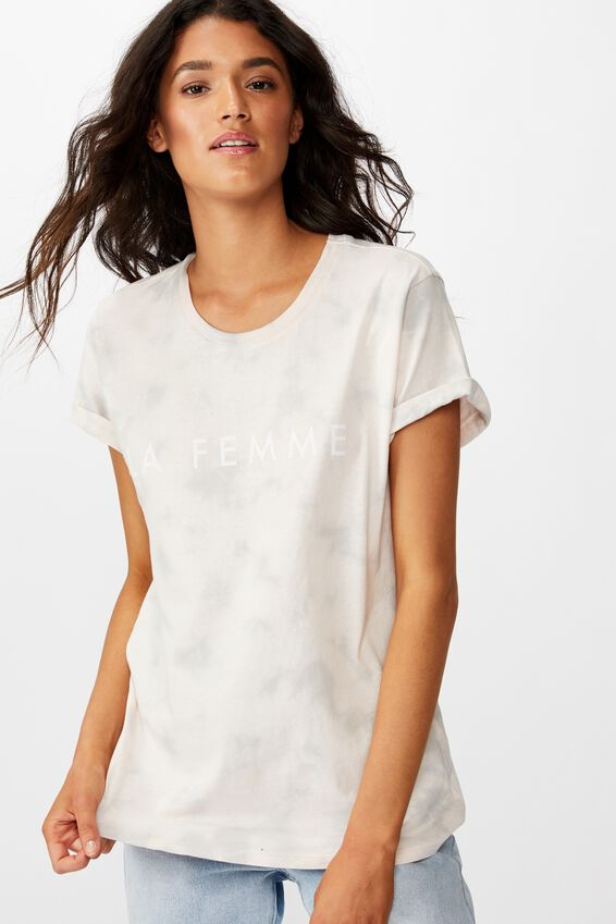 Classic Slogan T Shirt, LA FEMME PINK/GREY TIE DYE