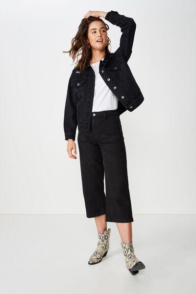 Mid Rise Wide Leg Crop Jean, WASHED BLACK PATCH POCKET