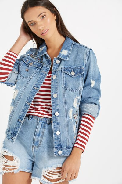 Boyfriend Trucker Embellished Denim Jacket, RIPPED MID BLUE
