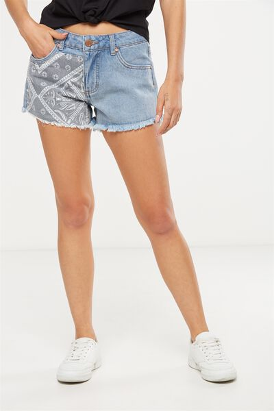 Mid Rise Saturday Denim Short, BANDANA BLUE