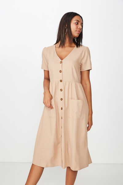 Woven Camila Button Through Midi Dress, BRUSH