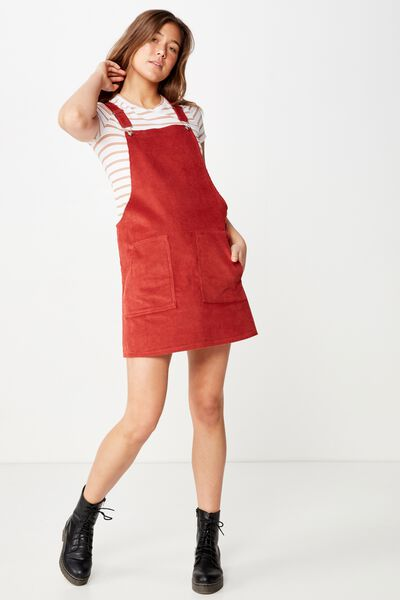 Classic Cord Pinafore, RUSTIC RED