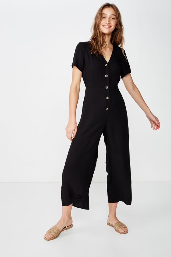 Woven Juniper Short Sleeve Jumpsuit, BLACK