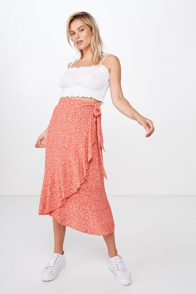 Woven Ella Midi Skirt, CARLY DITSY MINERAL RED