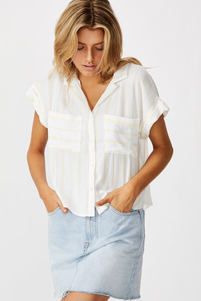 Emily Chopped Short Sleeve Shirt, JASMIN STRIPE SUNDRESS