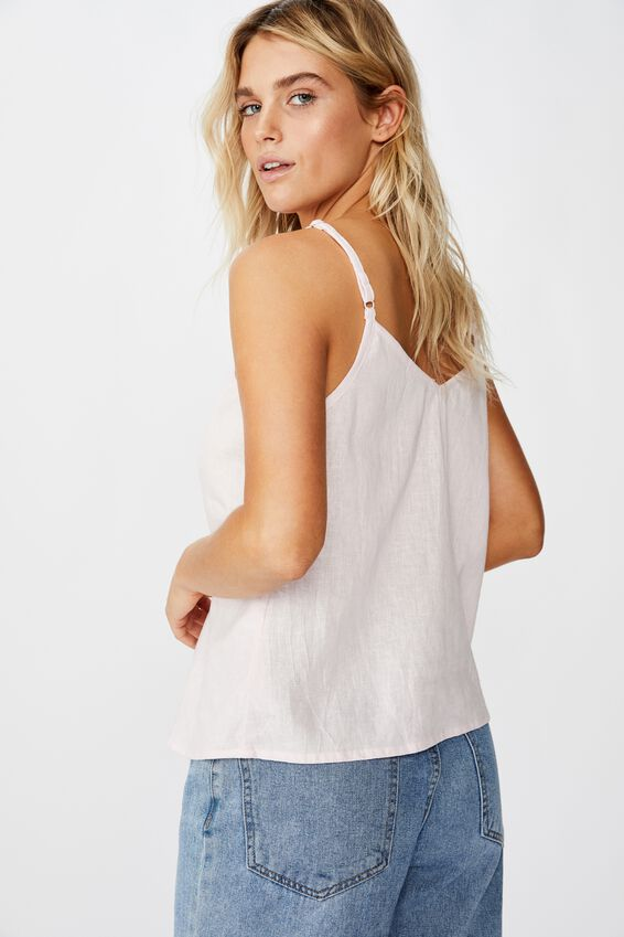 Amy V Neck Cami With Buttons, WASHED PINK FROZE