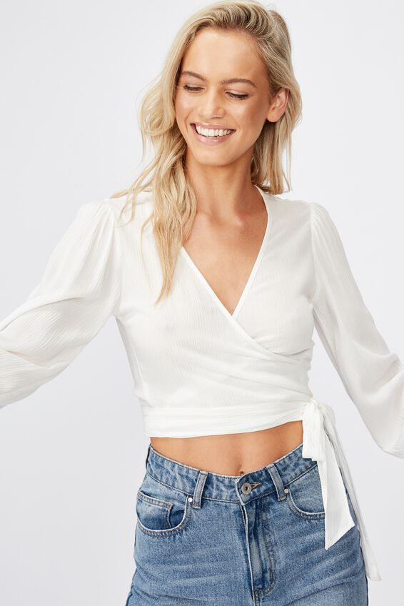 Wild Nights L/S Wrap Blouse, WHITE