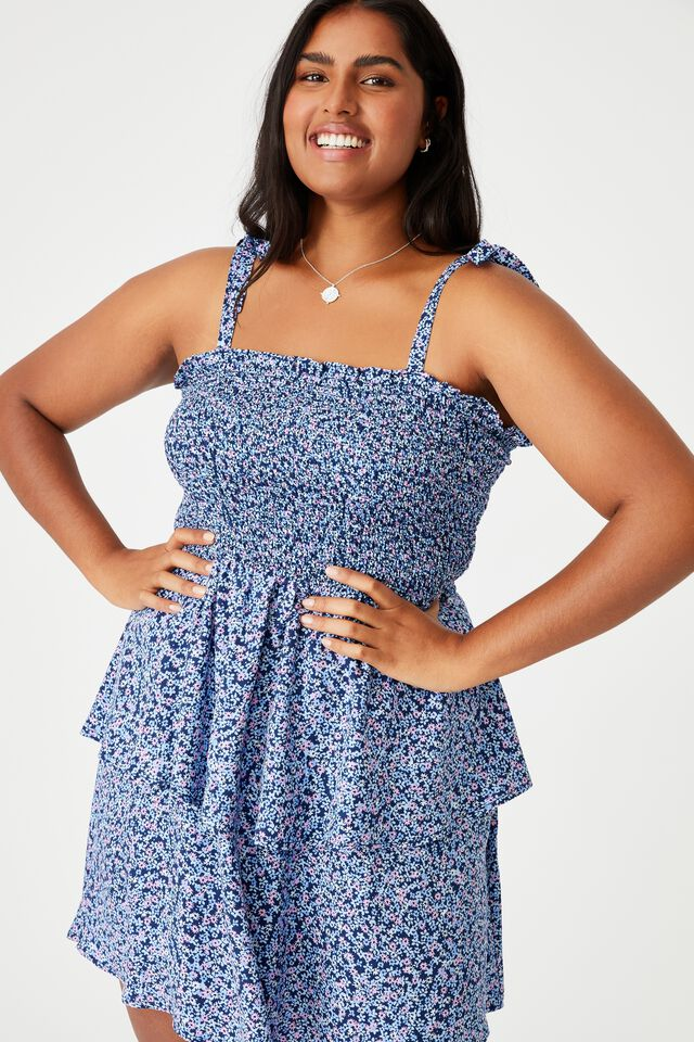 Curve Woven Emma Mini Tiered Dress, QUINN DITSY MEDIEVAL BLUE