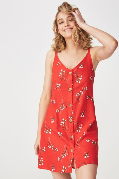 Woven Margot Slip Dress, BUTTON THROUGH CLAIRE FLORAL CHERRY RED