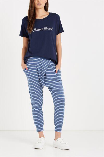 Relaxed Wrap Jersey Pant, MEG STRIPE DENIM MARLE/WHITE
