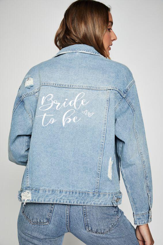 Personalised Bf Denim Jacket, COLLEGIATE BLUE