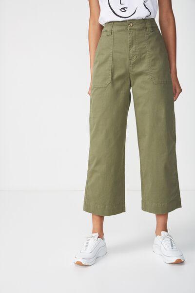 Wide Leg Chop Pant, ARMY GREEN