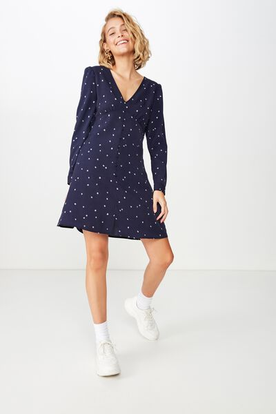 783bc7da03 Woven Dotti Long Sleeve Mini Dress