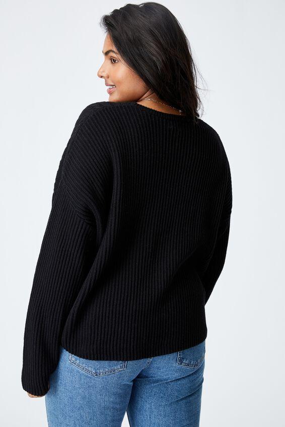 Curve Riley Cotton Knit Jumper, BLACK