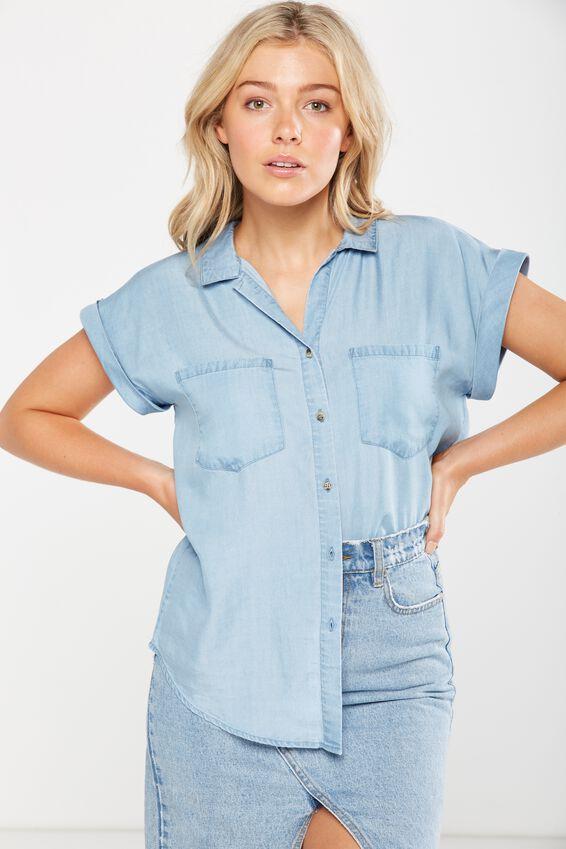 Emily Short Sleeve Shirt, MID BLUE