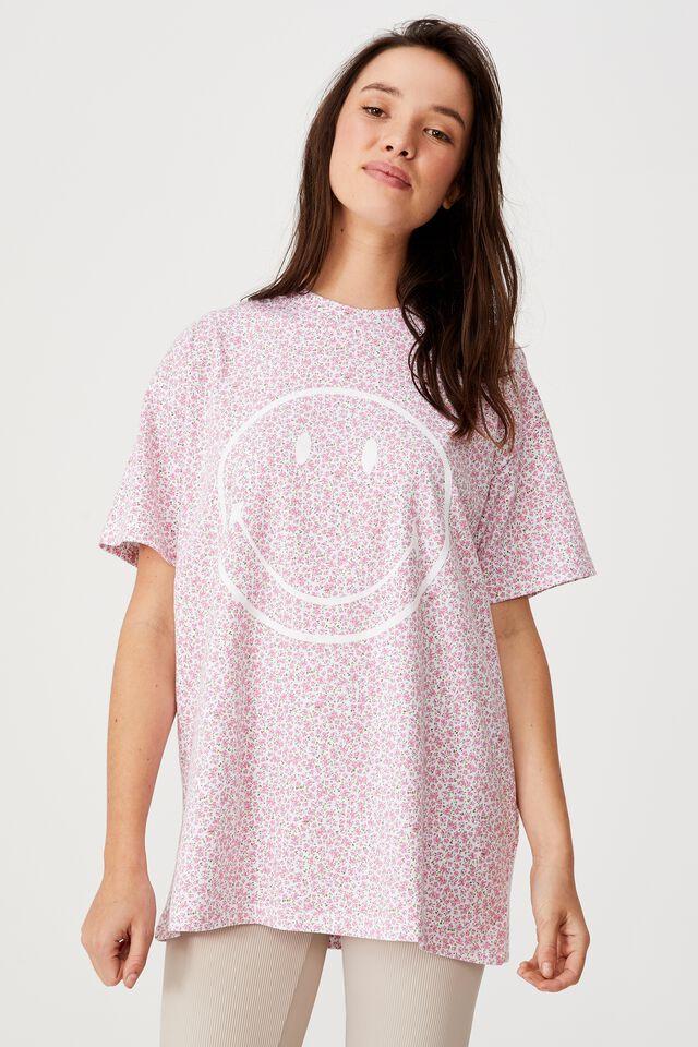 Smiley Floral Tee, LCN SMI SMILEY YARDAGE/WHITE