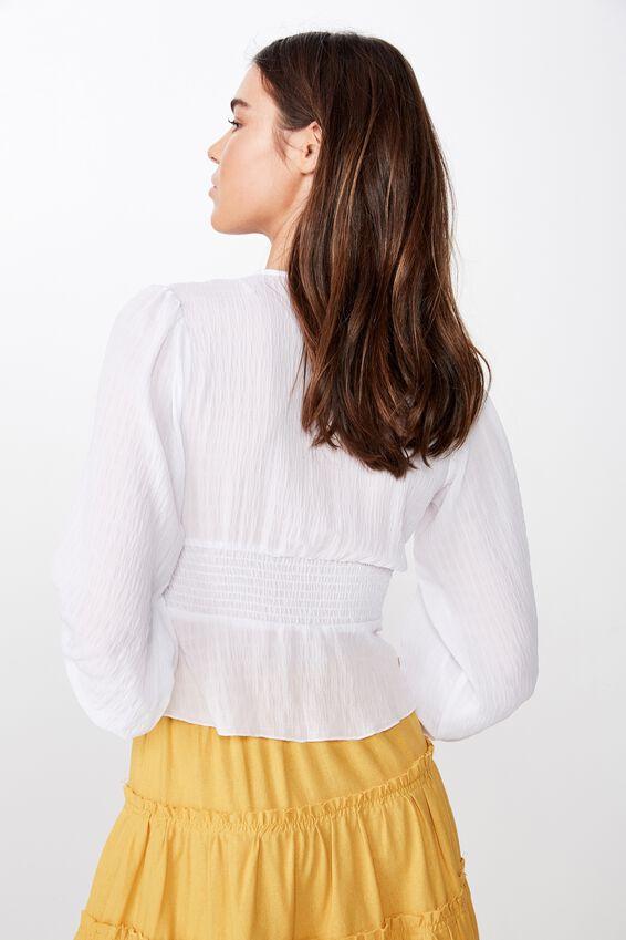 Hazel Blouson Sleeve Blouse, WHITE