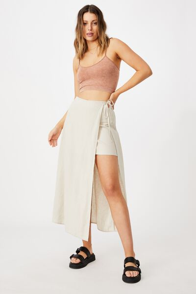 Clara Wrap Midi Skirt, FAWN