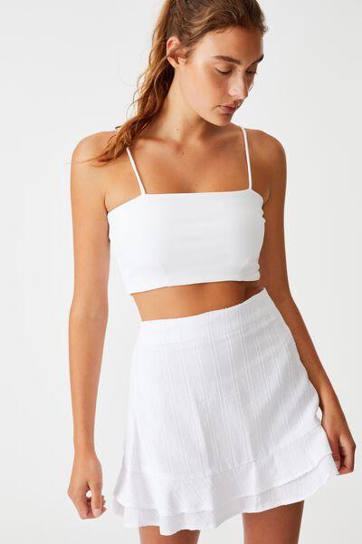 Sasha Frill Mini Skirt, WHITE