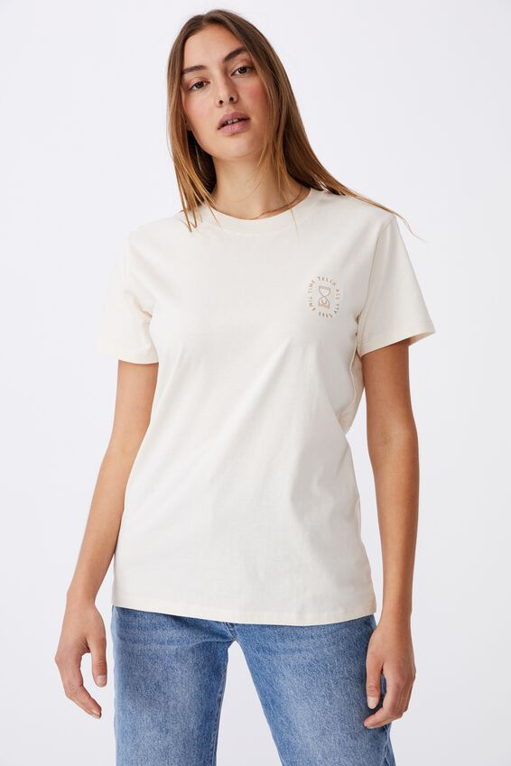 Classic Arts T Shirt, TIME SEES ALL/WHITE SAND