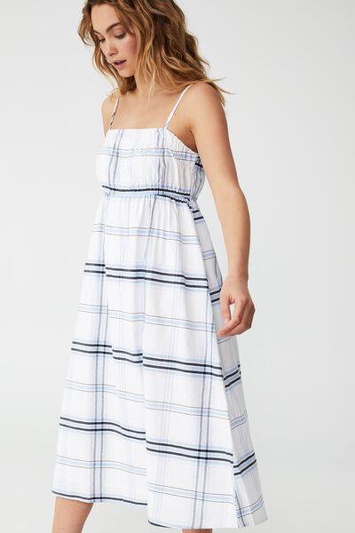 Woven Petite Pippa Midi Dress, DENNY CHECK NAVY WHITE