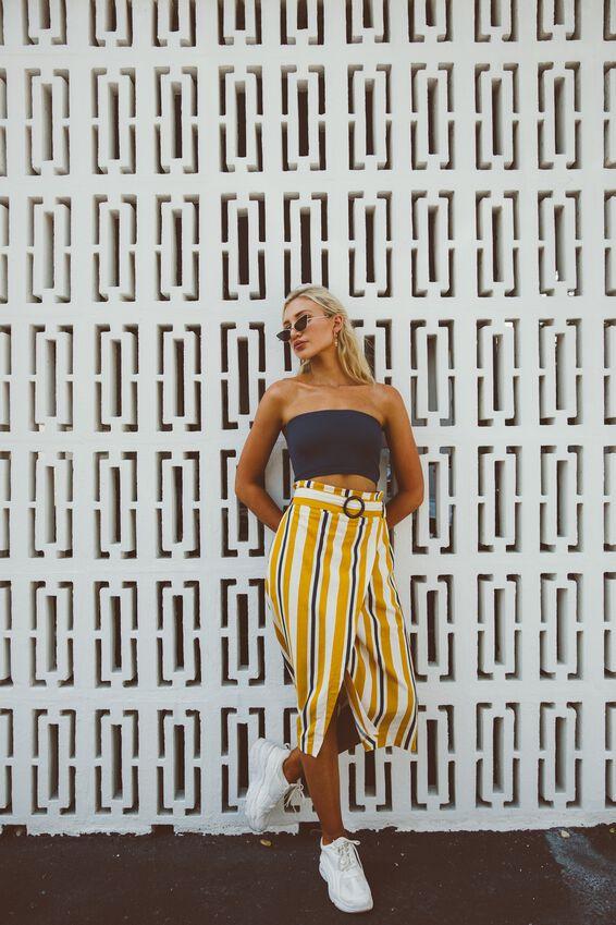 Woven Melanie Wrap Midi Skirt, DAISY STRIPE GOLDEN YELLOW - L