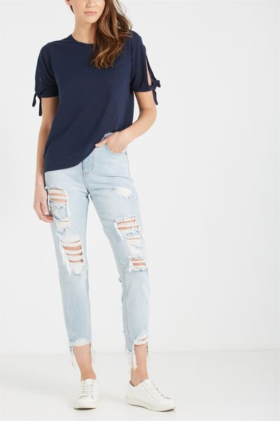 High Rise Relaxed 90S Jean, LIGHT BLUE EXTREME RIPS