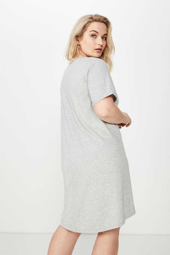 Curve Relaxed Tee Dress, GREY